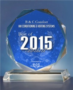 Small business award from Bothel Award Program -- HVAC excellence in home comfort service