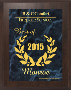 Home comfort, fireplace repair and HVAC service award - Monroe