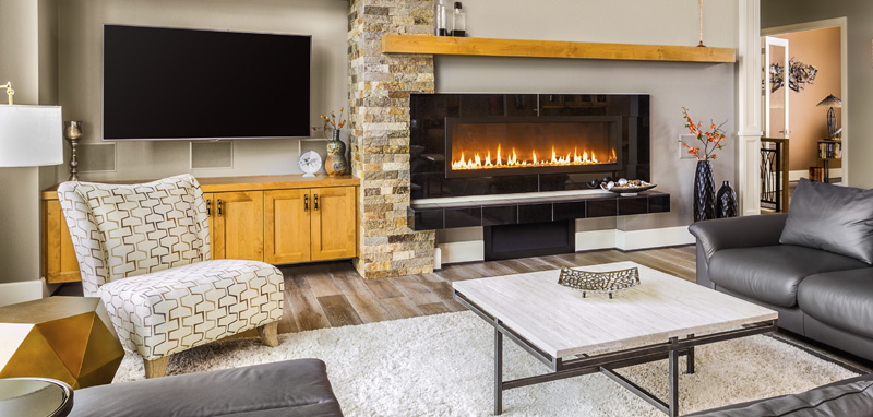 Gas fireplaces like this available in Kirkland, Monroe, Redmond